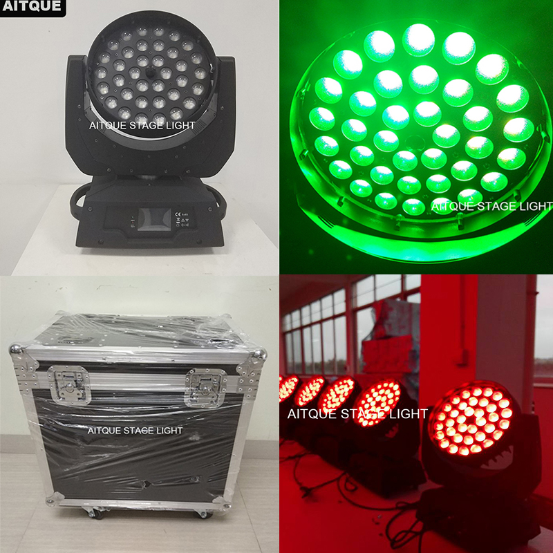 (12lights+flycase)Led stage wash light rgbw uv wash moving head 36 x 18 led moving head wash zoom
