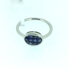 ANI 18K White Gold AU750 Women Wedding Ring 10mm Oval Natural Blue Sapphire Ring Fine Enagement