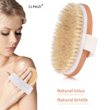 CLPAIZI Wooden Oval Bath Brush Exfoliating Natural Bristle Body Massage Promote Blood Circulation Brushes D30
