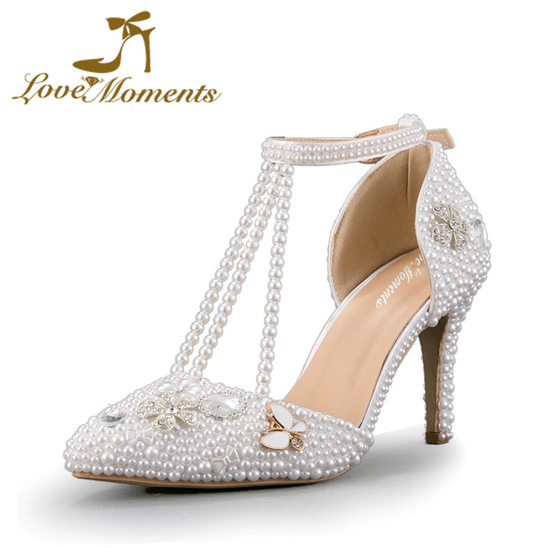 50c5494e8 Crystal Diamond White Pearl Sandals Pointed Toe White Wedding Shoes for  Bride T-Straps 3