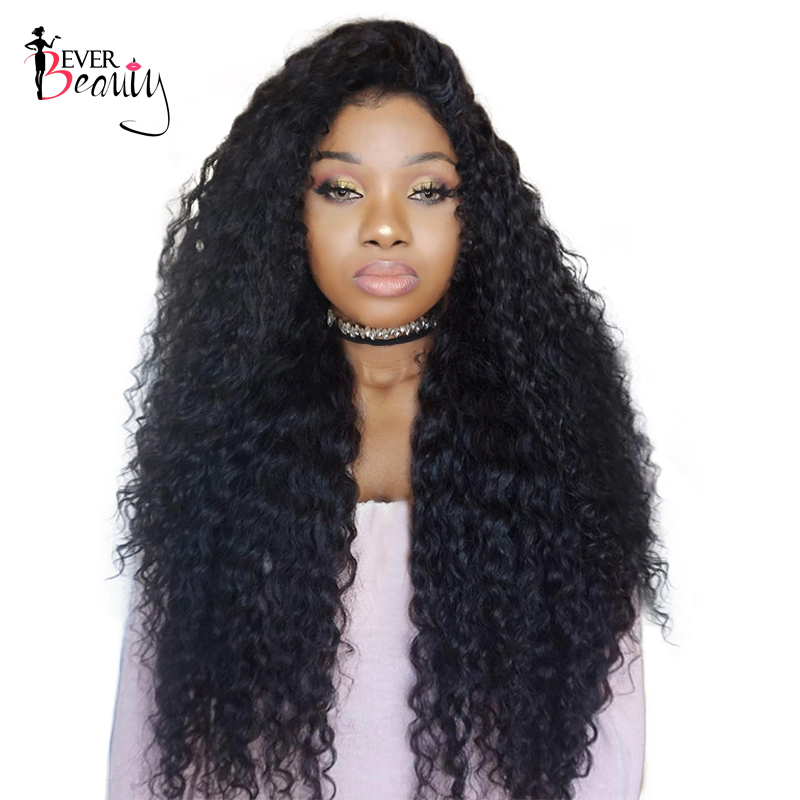 Ever Beauty Lace Front Human Hair Wigs 250% Density Brazilian Curly Remy Hair Natural Black Medium Cap Size