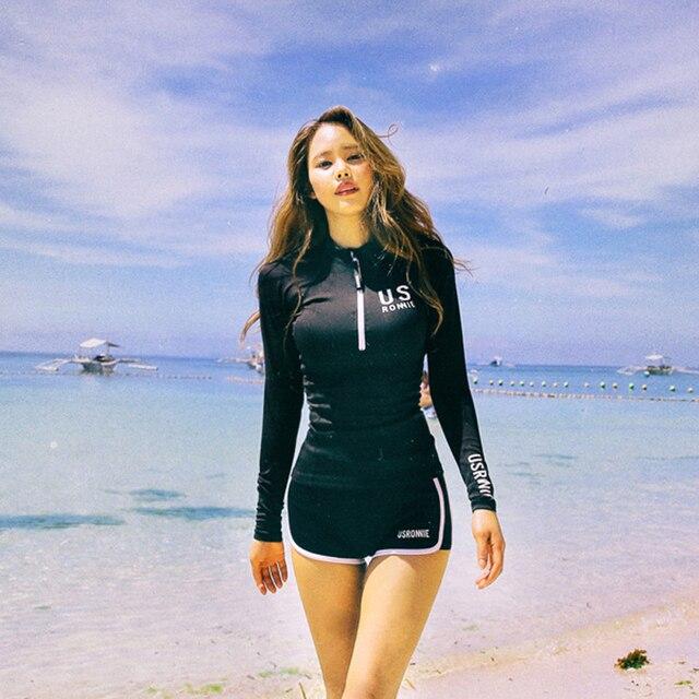 Wanita Hitam Lengan Panjang Ruam Penjaga Kemeja & Celana Pendek Dua Potong Pakaian Renang Surfing Baju Renang Perlindungan Sinar UV Matahari Tankini Baju Renang