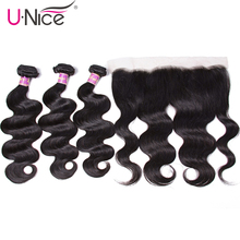 UNice Hair Icenu Remy Hair Series Brazilian Body Wave Lace Frontal Closure With Bundles 13x4 Human Hair Bundle Lace Closure 4PCS(China)