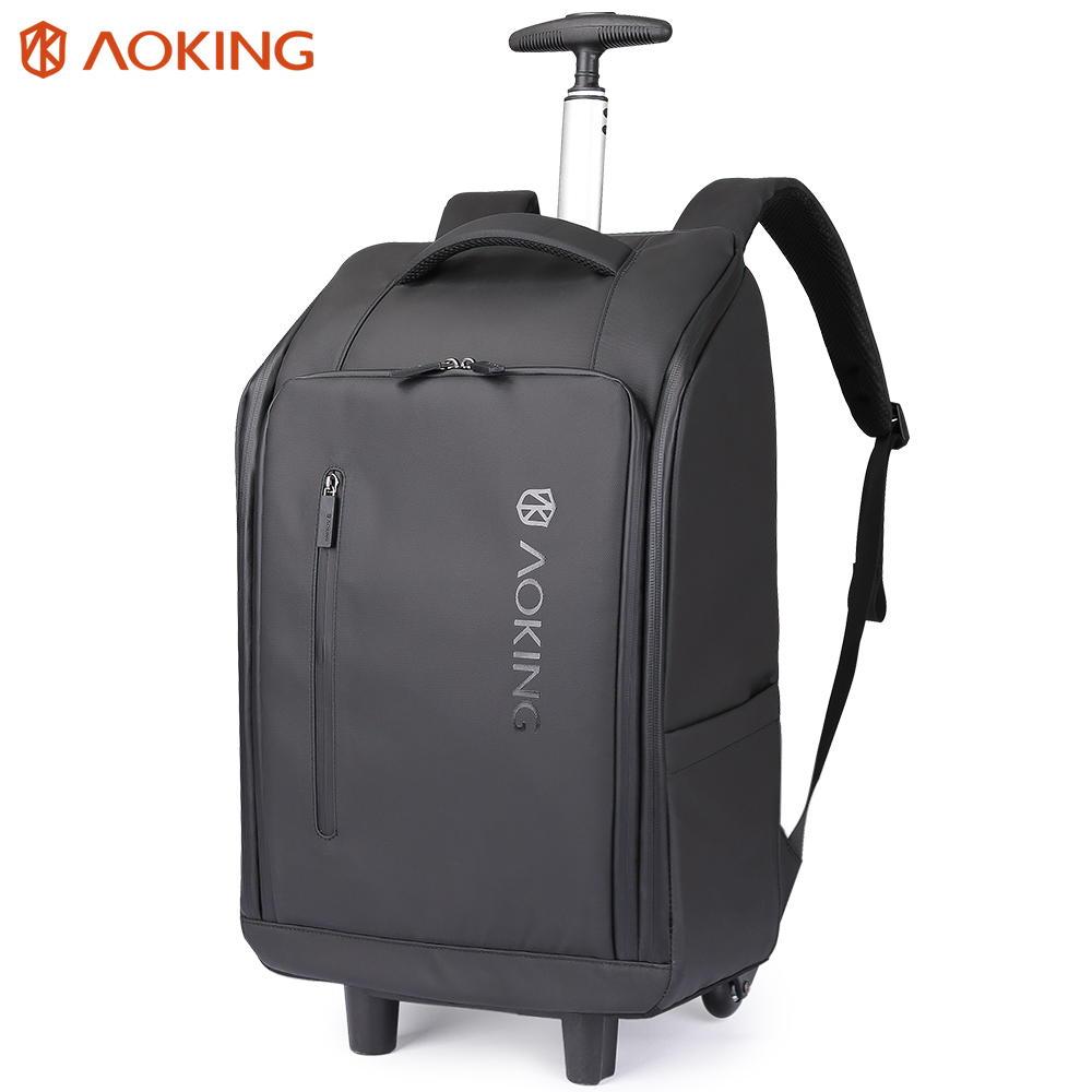 Aoking 2019 New Trolley Backpack Man Waterproof Travel Bag Laptop Mochila Large Capacity Backpack With Air Cushion(Rain Cover)-in Travel Bags from Luggage & Bags    1