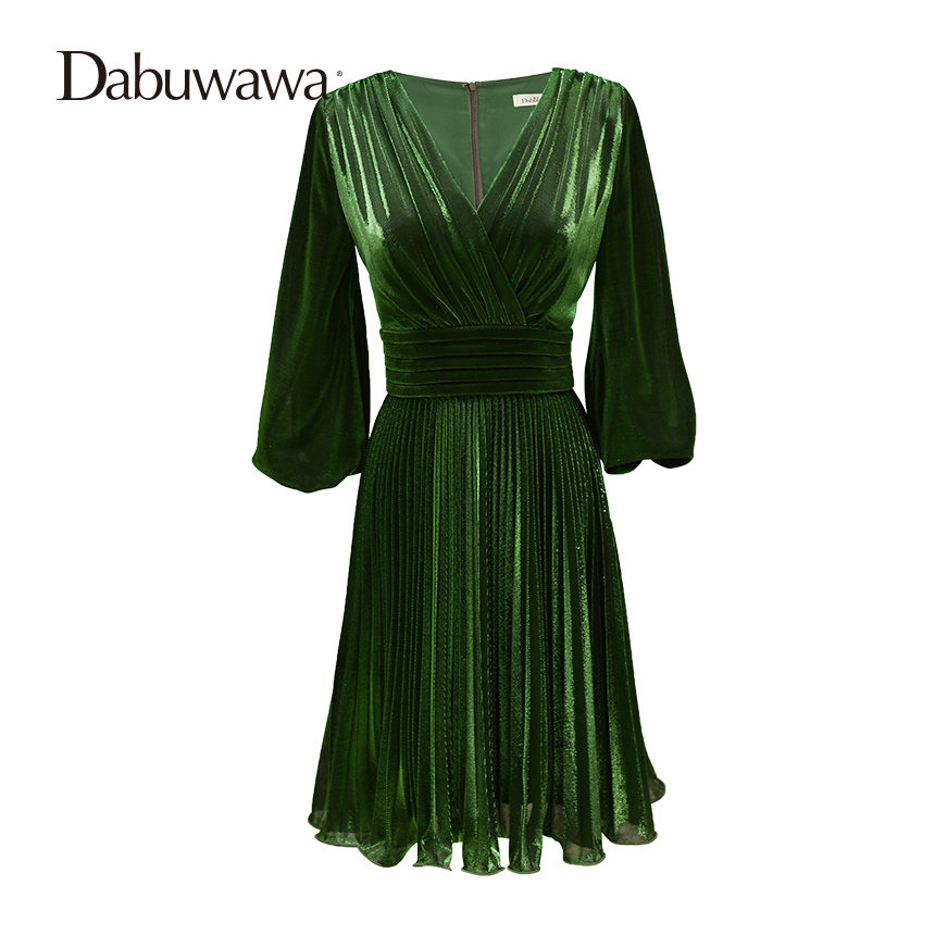 Dabuwawa Green Spring Autumn Half Sleeve Pleated Dress Deep V Neck Sexy Special Occasion Dresses