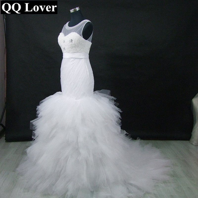 ba59bb09c073 QQ Lover 2019 African Mermaid Wedding Dress Pearls Beading Pleated Bridal  Wedding Gown
