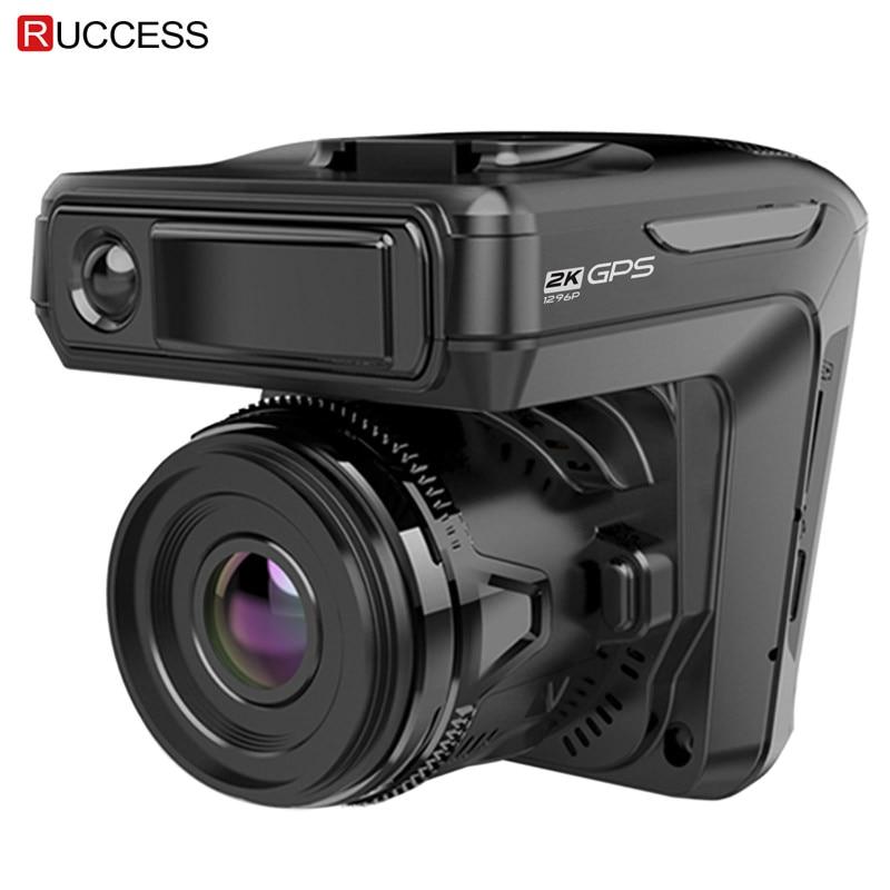 Nouveau 3 en 1 Voiture DVR Dash cam GPS 1296 P Voiture caméra Double Lentille Vidéo Enregistreur Dashcam Auto Registrator Anti Radar Russie voix