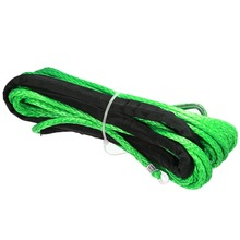 15M 5500lbs High Strength Green Synthetic Winch Rope Cable Line with Hook Towing Ropes For ATV UTV Off-Road
