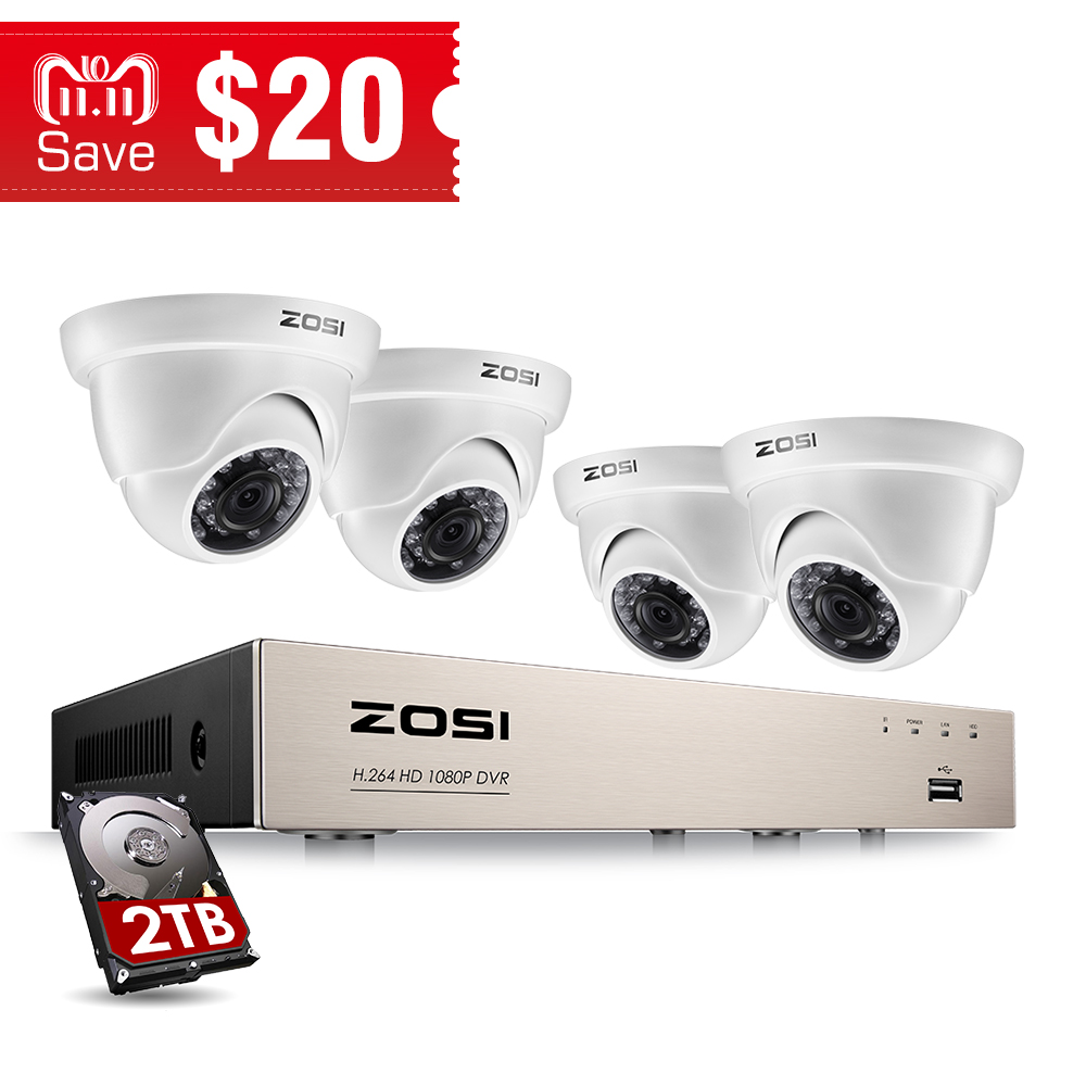 ZOSI 8CH FULL TRUE 1080P HD-TVI DVR Recorder HDMI With 4X 1980TVL Indoor outdoor Surveillance Security Dome Camera System zosi 8 channel hd tvi 1080p lite video security system dvr recorder with 4x hd 1280tvl indoor outdoor weatherproof cctv camera
