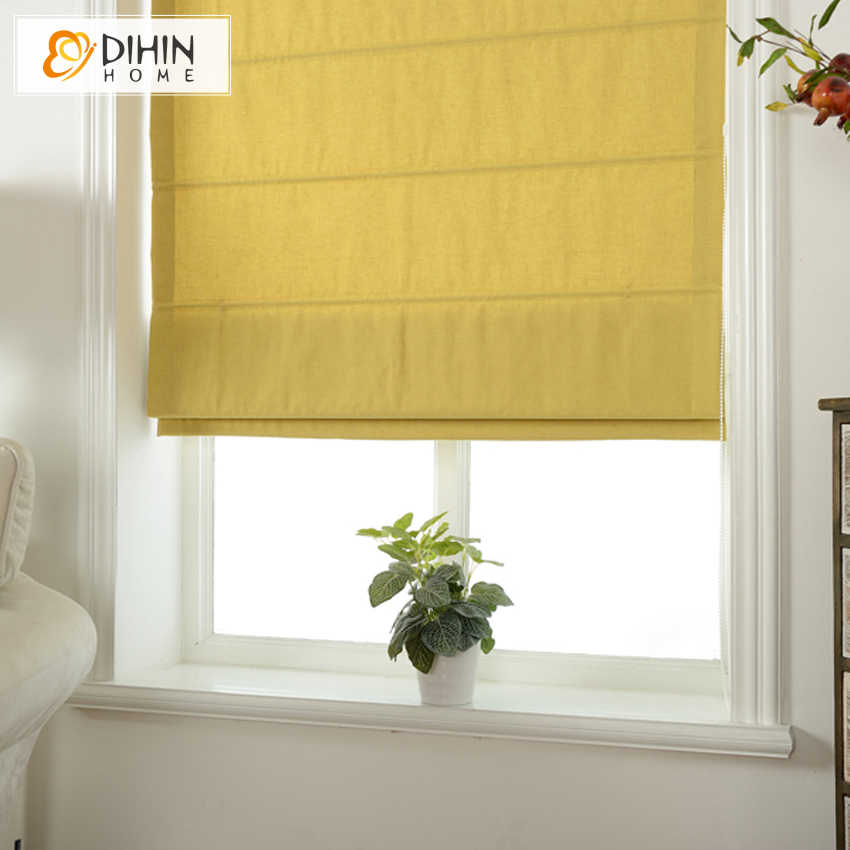 DIHIN HOME New Arrival Linen/Cotton Fabric Modern Pure Color Roman Blind Rollor Blinds Blackout Curtains Window Treatment Drapes