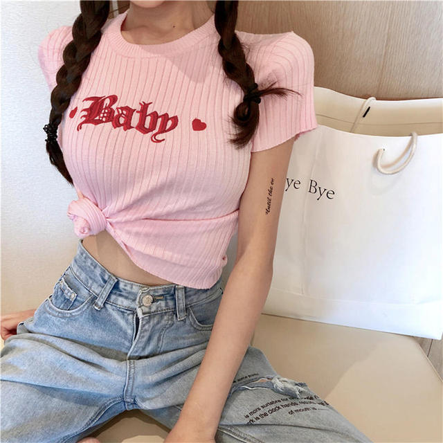 Korobov Pink Knitted T Shirts Woman Short Tops Baby Embroidery Loving Heart Top Tee Summer Short Sleeve O-neck T-shirts 35600