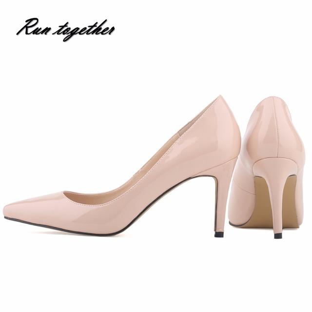 Nuevo Envío Libre estrella de la manera del dedo del pie puntiagudo altas heeles zapatos club nocturno escarda partido bombean los zapatos sólidos de las mujeres tamaño 35-42