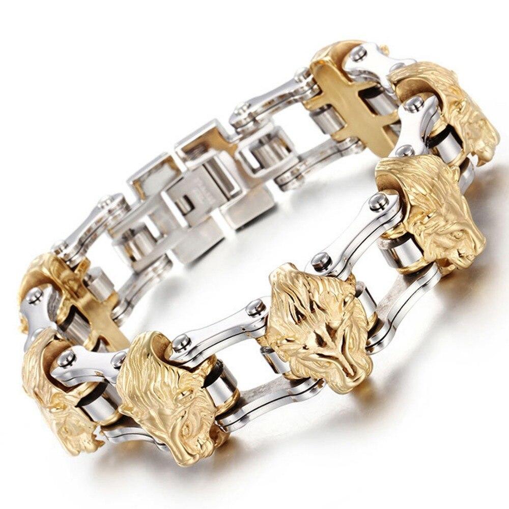22.5mm gothique acier inoxydable argent moteur chaîne de vélo or tête de Lion hommes Biker bijoux Bracelet Bracelet de noël cadeau 8.26
