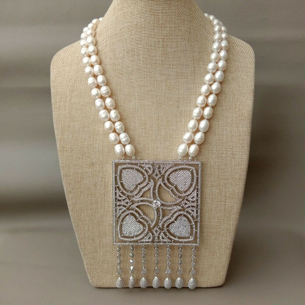 "22"" 2 Strands White Rice Pearl Necklace Big Square CZ Pendant"