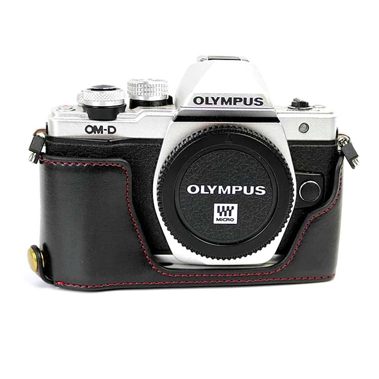 Camera Bag Bottom Case For Olympus OM-D E-M10 Mark II EM10II EM10 II E-M10II PU Leather Half Body Set Cover With Battery Opening