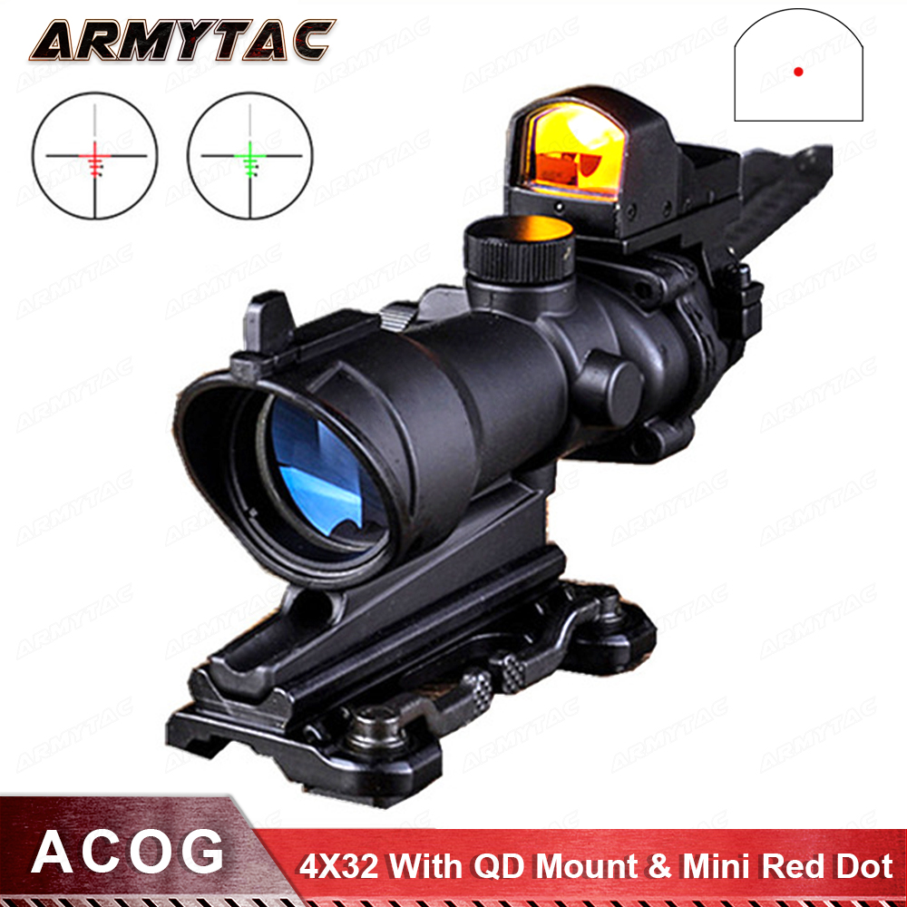 Acog 4X32 Scope With QD Mount & Mini Red Dot Sight Sniper Riflescope Hunting Shooting Rifle Gun Scope стоимость