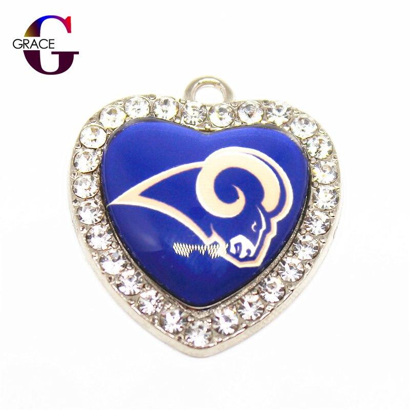 Los Angeles Rams Football Team Crystal Glass Heart Sport Hanging Dangle Charms DIY Women Men Bracelet Necklace Jewelry Accessory