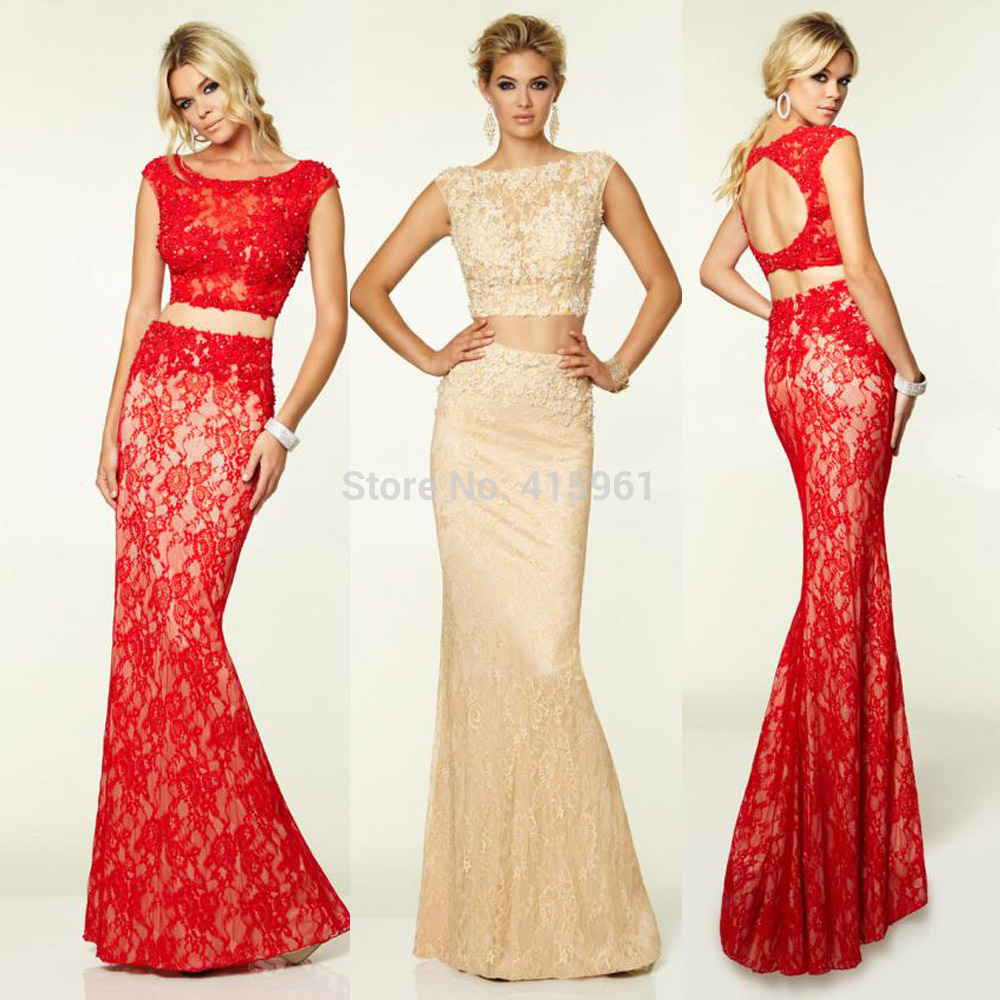 New Design Red Champagne Two Piece   Prom     Dresses   2019 Lace Mermaid Evening   Dress   Open Back Long Cap Sleeve Vestidos   prom     dress