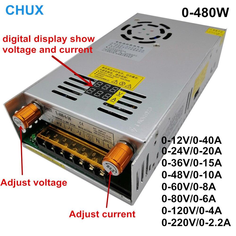 Affichage numérique 24v 36v 48v 60v commutateur réglable alimentation régulée convertisseur de AC-DC 12V 24v 36v 48v 60v 80v 120v 220V 480W