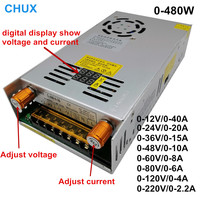 Digital display Adjustable Switch regulated Power Supply AC DC Converter 12V 24v 36v 48v 60v 80v 120v 220V 480W
