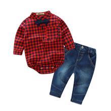 Комплект одежды для маленьких мальчиков рубашка в клетку с длинным рукавом Футболка для девочек+ джинсы, комплекты со штанами для маленьких мальчиков модные Костюмы набор
