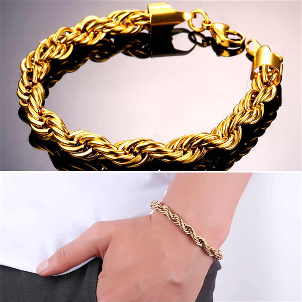U7 Нержавеющаясталь/черный/золотой витая веревка браслет-цепочка для Для женщин Для мужчин унисекс ювелирные изделия ручной цепи 3/6/9 мм Хорошее качество H1088