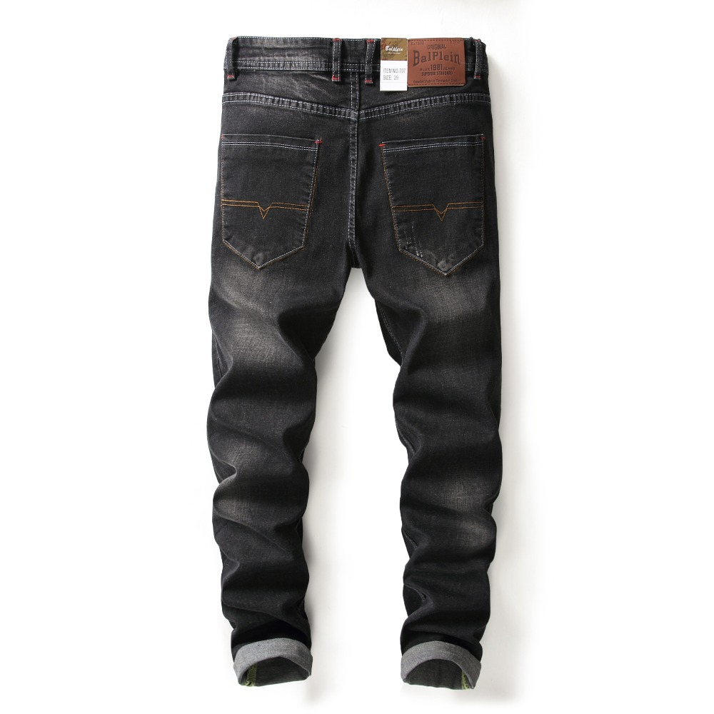 New Arrival Fashion Mens Black Jeans Elastic Trousers Male Slim Fit Balplein Brand Jeans With Logo Stretch Ripped Jeans Men H707