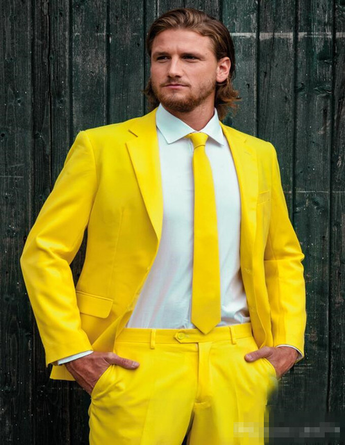 <font><b>2018</b></font> New One Button Yellow <font><b>Men's</b></font> Formal <font><b>Terno</b></font> Prom <font><b>Suits</b></font> <font><b>Men's</b></font> <font><b>Wedding</b></font> Tuxedos Best <font><b>Men</b></font> <font><b>Wedding</b></font> Party <font><b>Suits</b></font> (Jacket+Pants+Tie) image