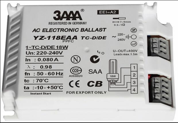 Ballast électronique de lampe fluorescente à ca de démarrage instantané de 3AAA 18 W 220-240 V pour les redresseurs Standard de lampe d'anneau de TC YZ-118EAA
