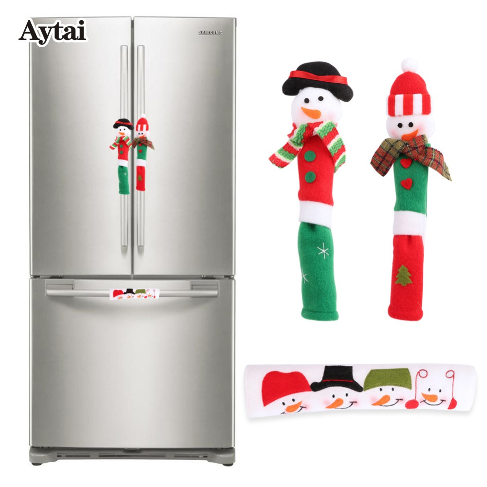 Aytai 3pcs Fridge Handle Covers Christmas Microwave Oven