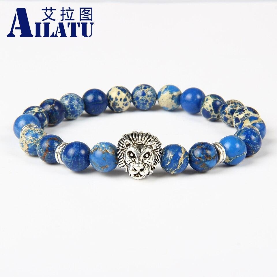 Ailatu New Design Wonderful Silver Color Lion Head 8mm Blue Sea Sediment Stone Beads Bracelet