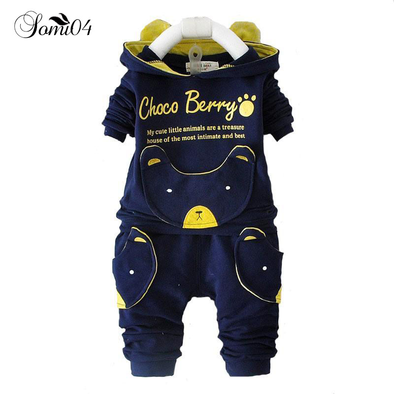 New Spring Autumn 2018 Fashion Baby Cartoon Bear Clothing Sets Hooded Jacket + Pants Suit for Infant Children Boys Girls Outfits