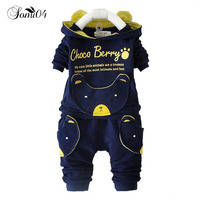 New Autumn Fashion Baby Cartoon Clothing Sets Hooded Jacket Trousers Suit For Infant Chilren Boys Girls