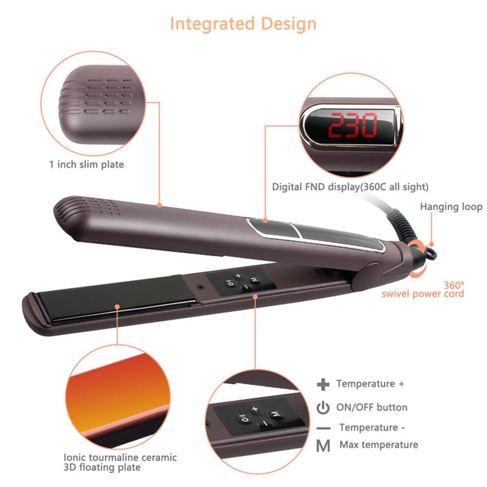 MADAMI Dual Voltage Wet Dry Hair Flat Iron Plancha Flacheisen MCH Titanium Ceramic Hair Straightener Keratin Treatment Flat Iron (2)