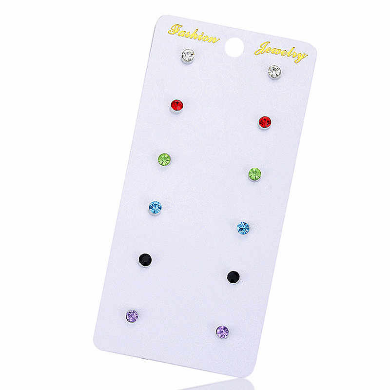 6 pairs /set Hot selling fashion gorgeous women jewelry girl boy birthday party ear nail green gray pink Earrings mixed Gift