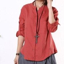 2014 summer stand collar button long-sleeve shirt linen fluid plus size clothing jy-068 xxxl women clothing female shirt