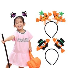 2018 New Pumpkin witch Girls Party Headband Children Funny Hair Accessories With LED Light Baby Hairbands