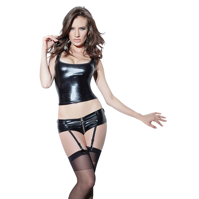 Sexig Svart Vinyl Våt Look Underkläder Set Ärmlös Tank Shorts Garter Läder Erotisk Catsuit Underkläder Kroppsdrag Kläder M-XXL