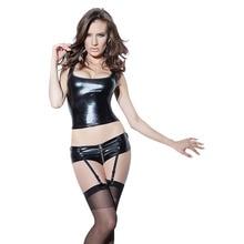Sexy Black Vinyl Wet Look Lingerie Set Sleeveless Tank Shorts Garter Leather Erotic Catsuit Lingerie Body Suit Clubwear M-XXL