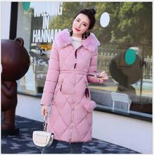 The new women's  in long section  Korean version of Slim  clothing large size cotton-padded thick hair collar thickening warm