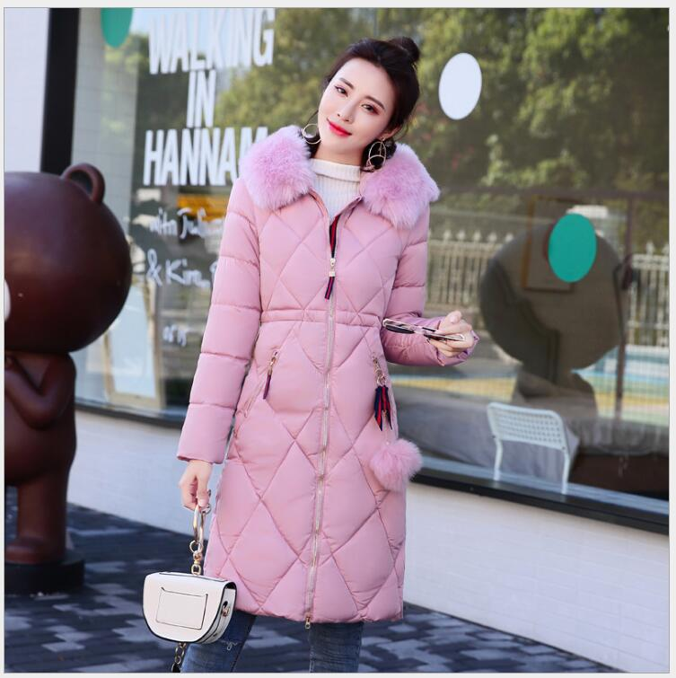 The new women's  in long section  Korean version of Slim  clothing large size cotton-padded thick hair collar thickening warm sky blue cloud removable hat in the long section of cotton clothing 2017 winter new woman