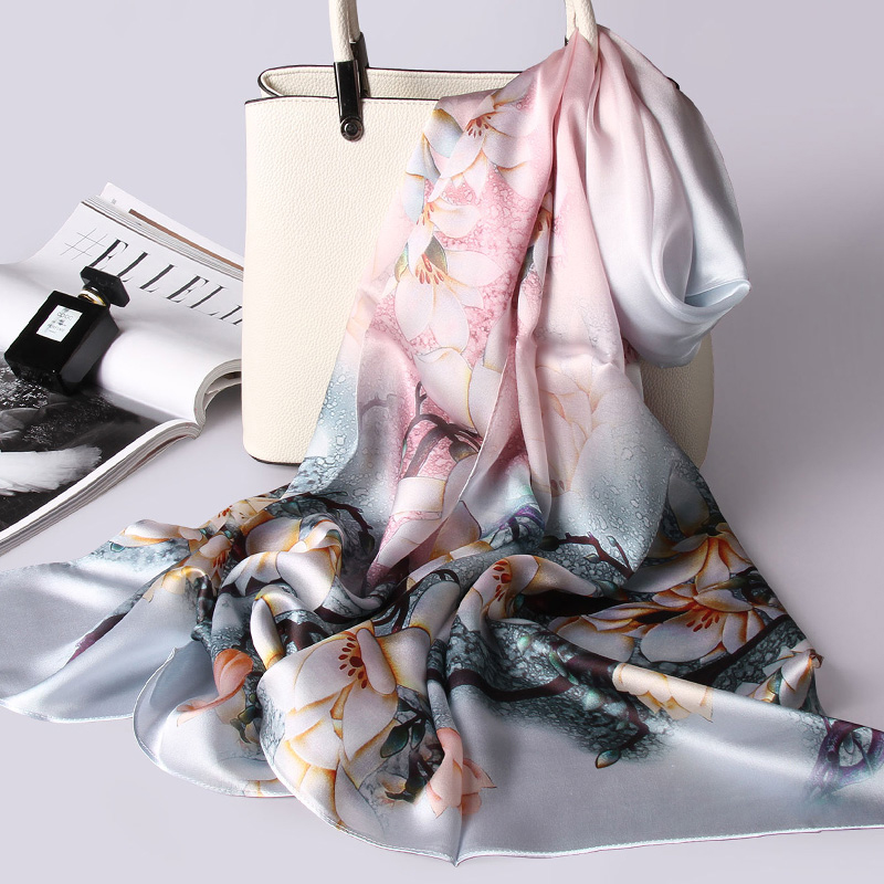100% Real Silk   Scarf   Women Luxury Silk Shawls and   Wraps   for Ladies All-Match Pashmina Vintage Neckerchief Soft Long   Scarf   Stoles
