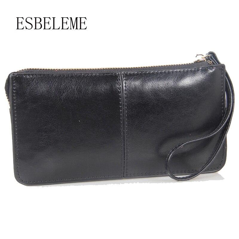 2019 Marke Frauen Lange Brieftasche Aus Echtem Leder Weibliche Große Kapazität Abend Taschen Damen Abend Tag Kupplung Frauen Geldbörse Yi141