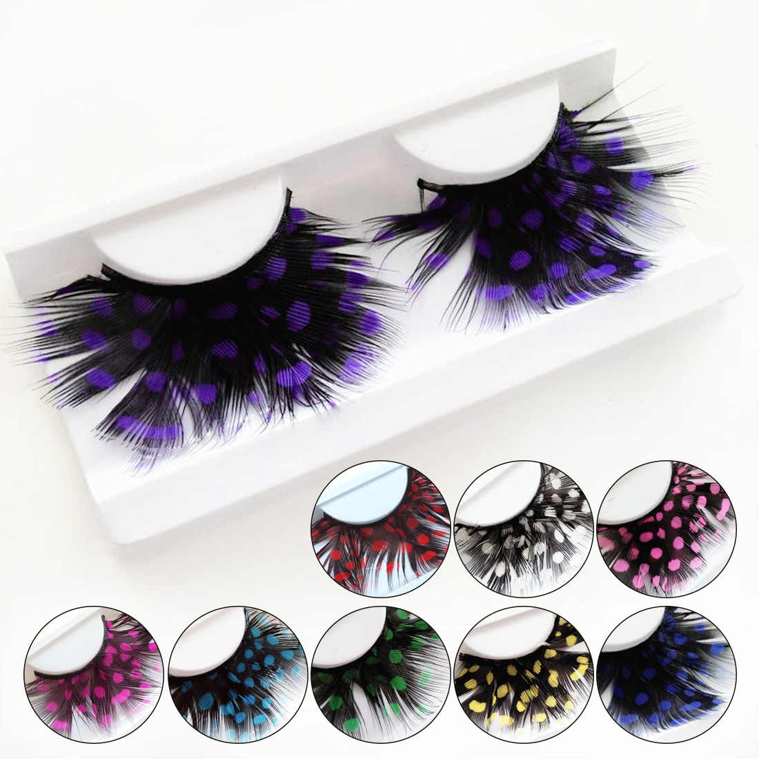 1 Pair Feather Dot False Eyelashes Party Nightclub Makeup Eye Lash Halloween Xmas Show Masquerade Natural Colorful 9 COLORS