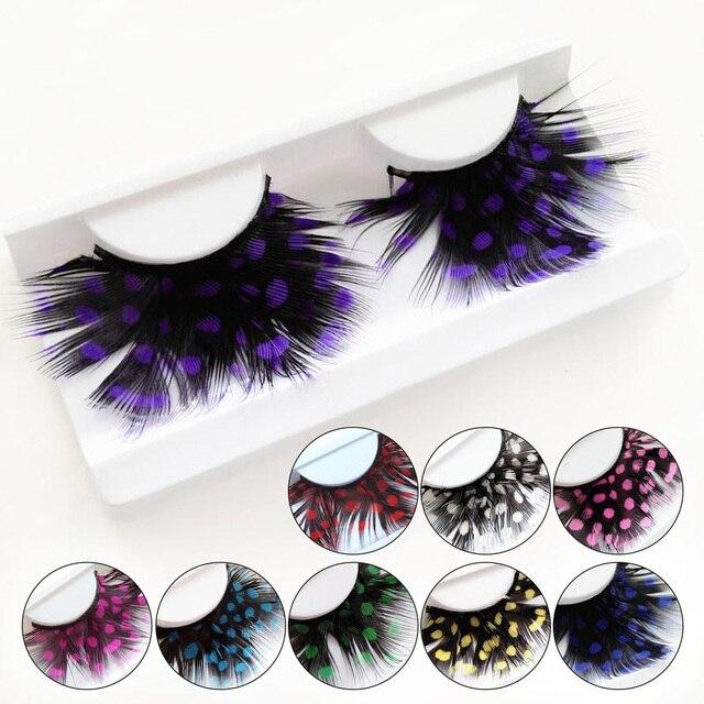 1 Pair Feather Dot False Eyelashes Party Nightclub Makeup Eye Lash Halloween Xmas Show Masquerade Natural Colorful 9 COLORS