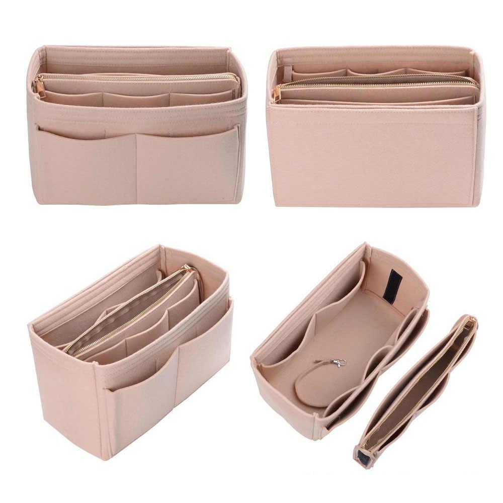 Organizator przyborów do makijażu wkładka do torebki, filcowa torba z zamkiem błyskawicznym, wewnętrzna torebka podróżna, dopasowane torby kosmetyczne pasują do różnych torebek marki