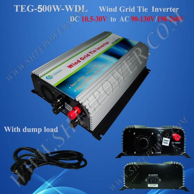 Grid Tie Inverter Wind Turbine 500W Wind Turbine Dump Load 10.8V~30V DC to 90V-130/190-260V AC