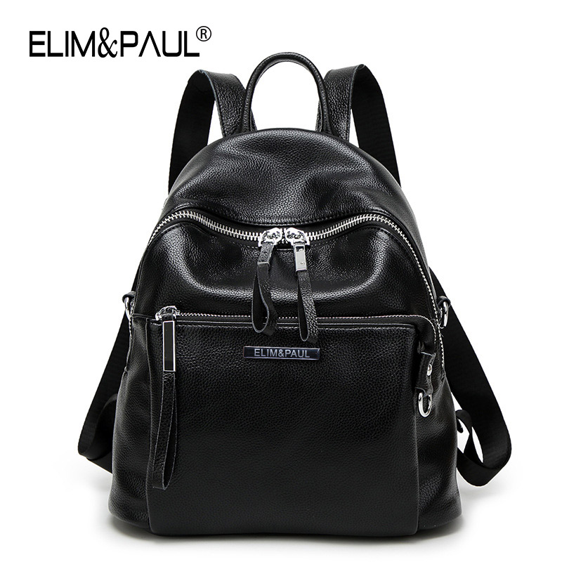 ELIM PAUL Black Backpack Women Leather Backpack School Bags Lady Fashion Travel Shoulder Bag Designer Backpacks