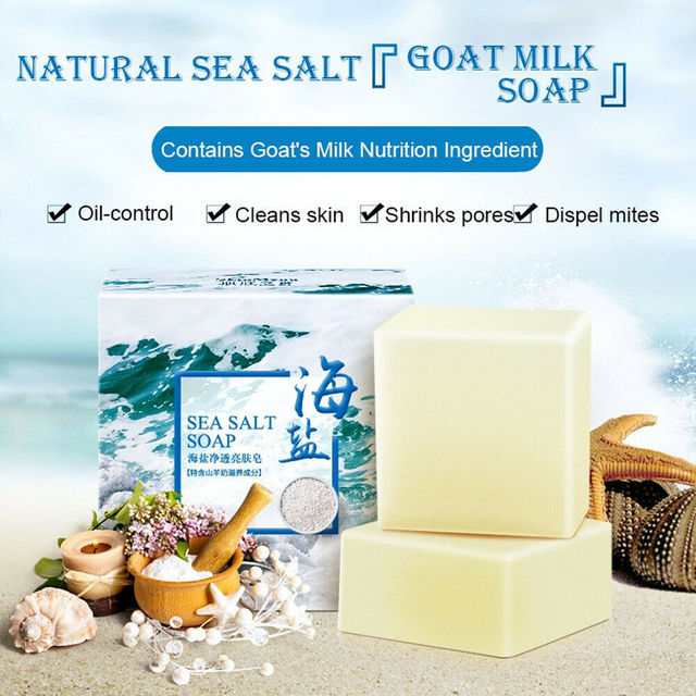 Sea Salt Ba Anti Fungus Skin Bath Body Whitening Lightening Acne Treatment Soap Acne Treatment Pimple Clean 100g