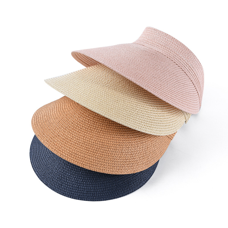 2019 New Ladies Summer Empty Straw Hat Paper Braid Hat Big Brim Visor Straw Sun Cap Summer Shades Cap For Women Wholesale
